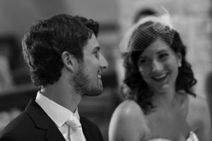Black and white wedding photography of couple in Church