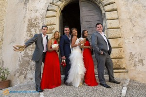 Bridal party photographed