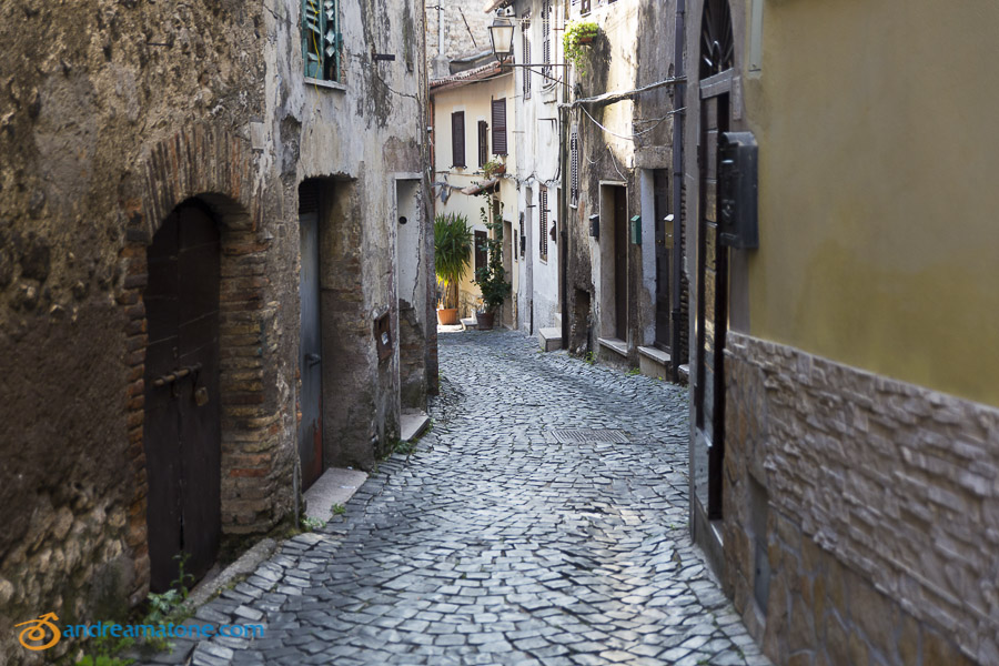 Typical characteristic alleyways in Palombara Sabina Italy