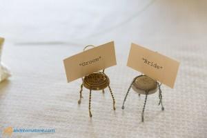 Bride and groom seat post arrangement.