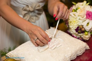 Bride prepares the wedding rings