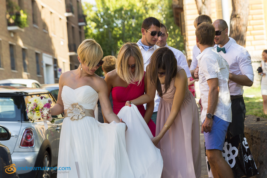 Brides and guests helping out the bride
