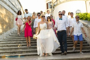 Guests descending stairs at the Spanish steps