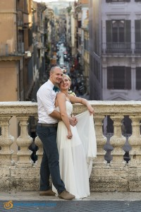 Bride and groom during the wedding photography session in Rome Italy