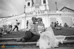 Black and white image of the newlyweds