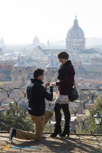 Surprise wedding proposal photographer Rome Italy. The proposal.