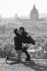 She said yes to the secret proposal asked in Rome Italy overlooking the city.
