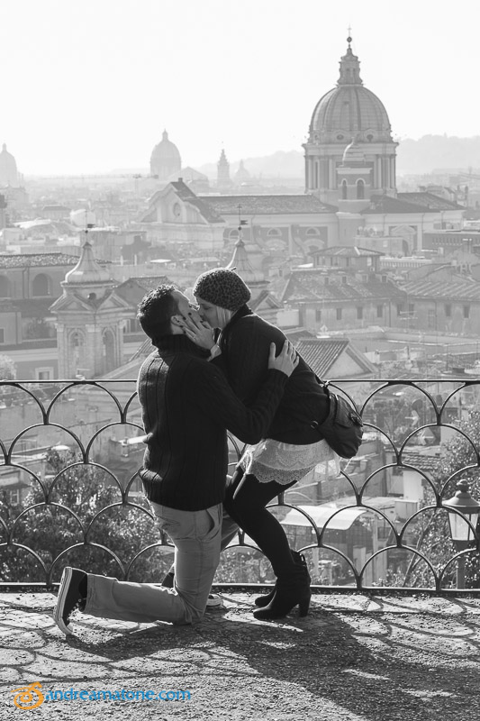 She said yes to the surprise question asked overlooking the city. Surprise Wedding Proposal Rome.