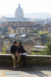 Together in Rome Italy during an engagement photographer session