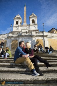 Photographing an engagement couple underneath Church Trinita' dei Monti in Rome