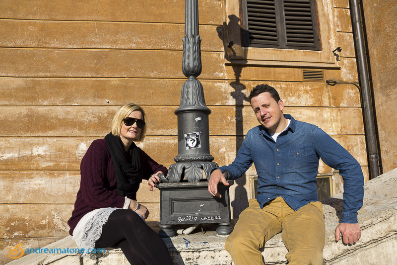 Engaged couple in Piazza di Spagna