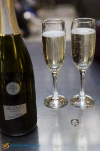 The ring and the prosecco celebration