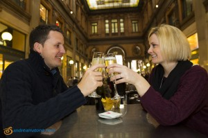 Toasting and celebrating the secret proposal in Rome