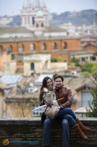 Happily engaged in Rome