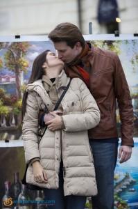Couple kissing at Piazza Trinita' dei Monti in Rome Italy