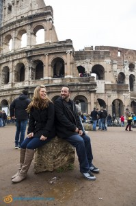 Picture taking at the Roman Coliseum after a wonderful surprise wedding proposal