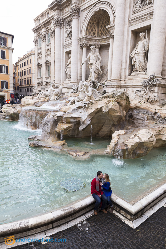 Engagement at the Fontana di Trevi. Picture taken from above.