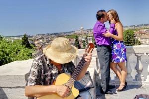 Romantically in love on the terrace of Parco del Pincio in Rome.