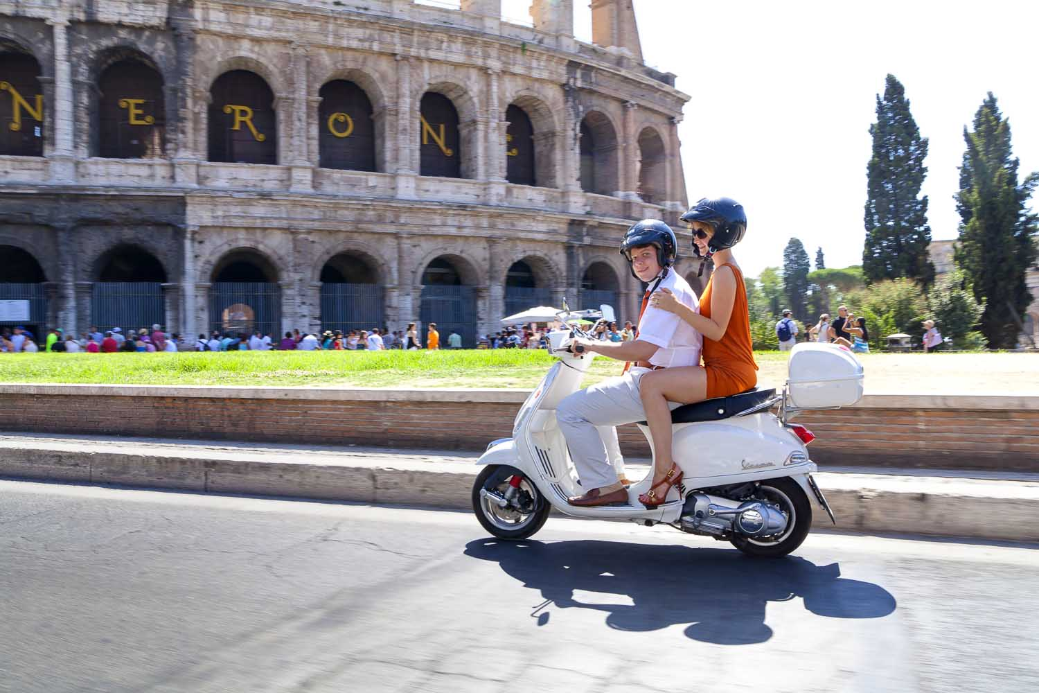 On a scooter around the city of Rome on a Vespa tour