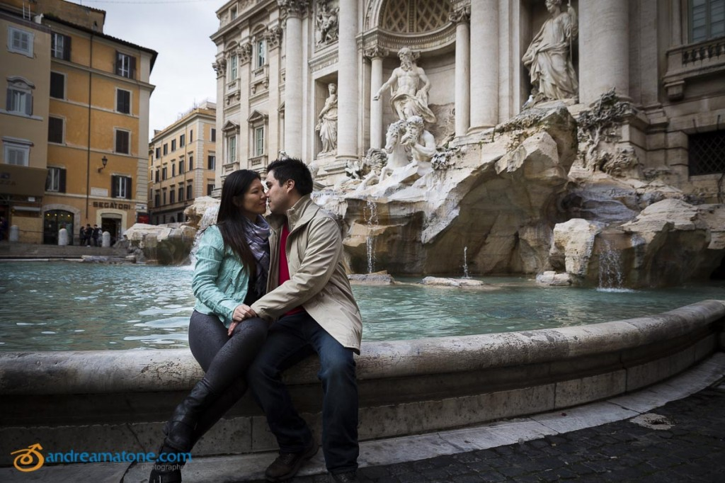 Romantic honeymoon photography taken in Piazza Fontana di Trevi in Rome Italy