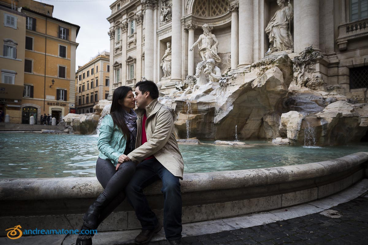 Romantic honeymoon photography taken in Piazza Fontana di Trevi in Rome Italy
