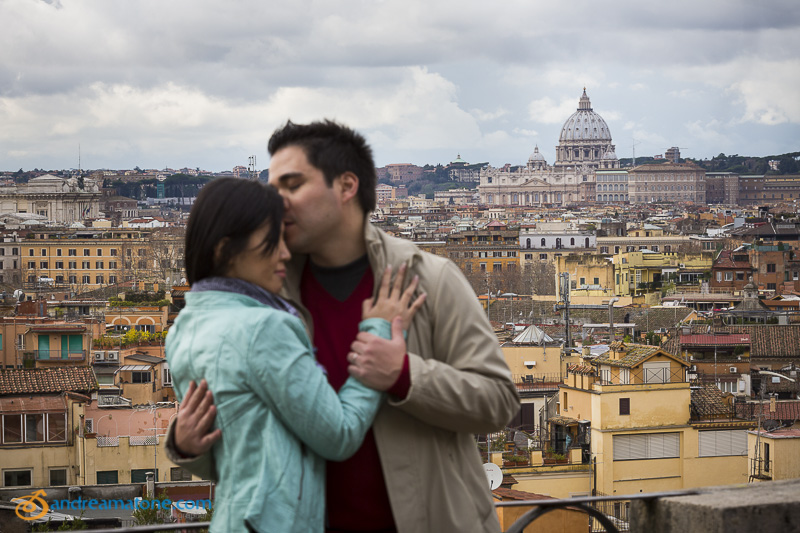 Couple overlooking the Italian cityscape