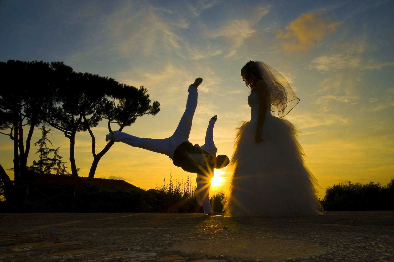 Wedding photography session in Rome Italy Capoeira move