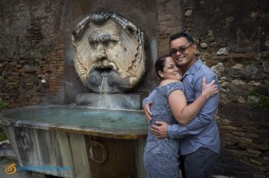Couple in love after the wedding vow renewal in Rome