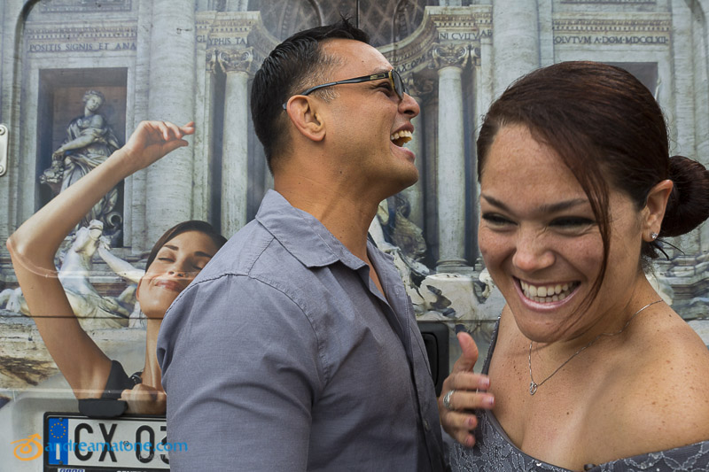 Having fun and laughing during a marriage photo session in Italy.