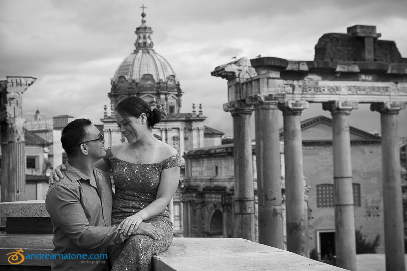 Married couple at the Roman Forum.