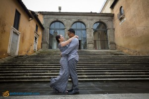 Posing for wedding photographs in Rome at Piazza del Campidoglio