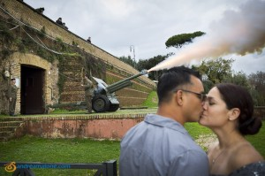 Canon firing at Gianicolo during a wedding renewal photo shoot