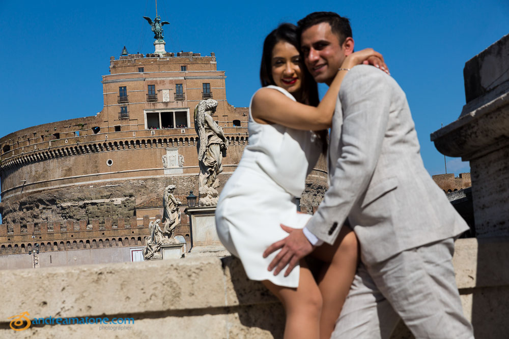 Couple during a Rome Pre Wedding session at Castel Sant'Angelo.