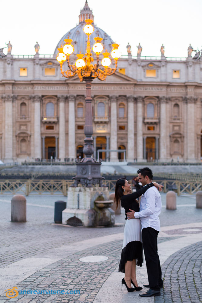 Night time picture session. Saint Peter's square in the Vatican.