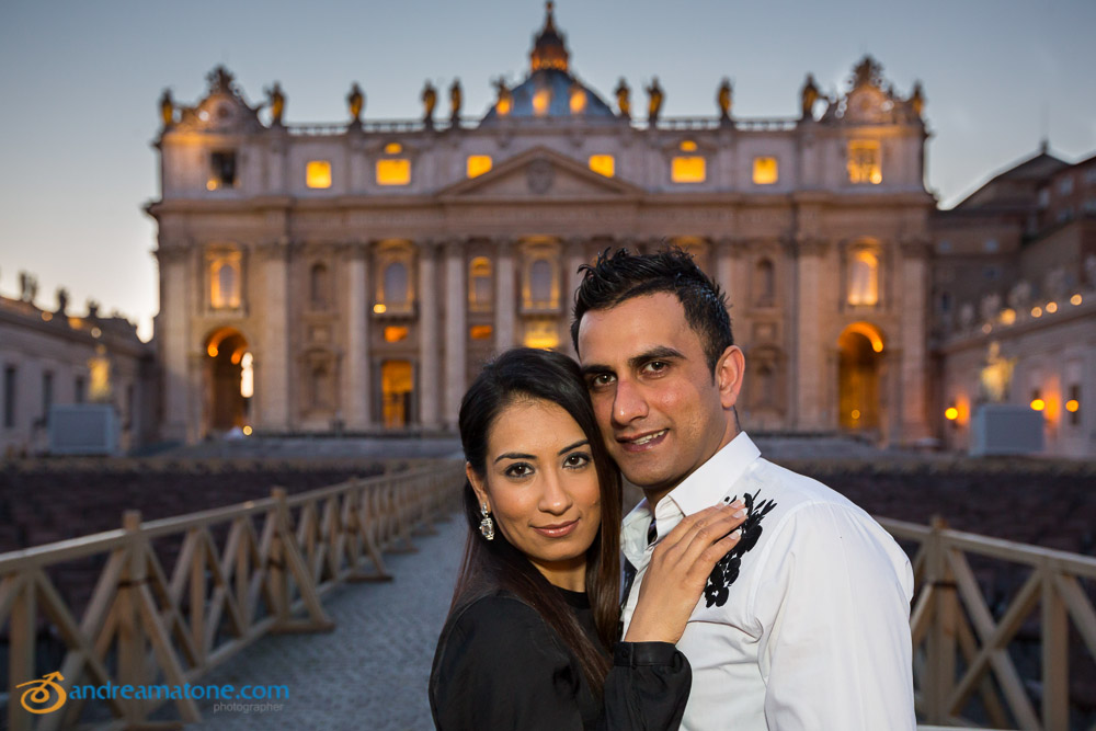 Up close portrait picture of a couple at the Vatican.
