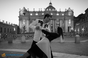 Romantic and in love. Couple during a pre wedding photoshoot in Rome at the Vatican. Black and White.