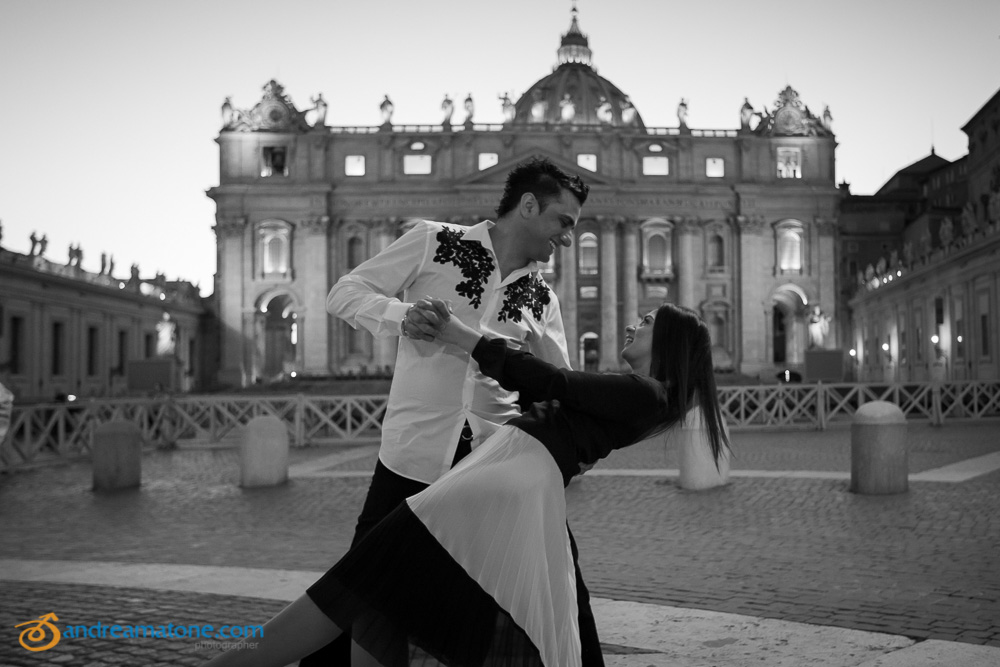 Romantic and in love. Couple dancing at the Vatican in Black and White image.