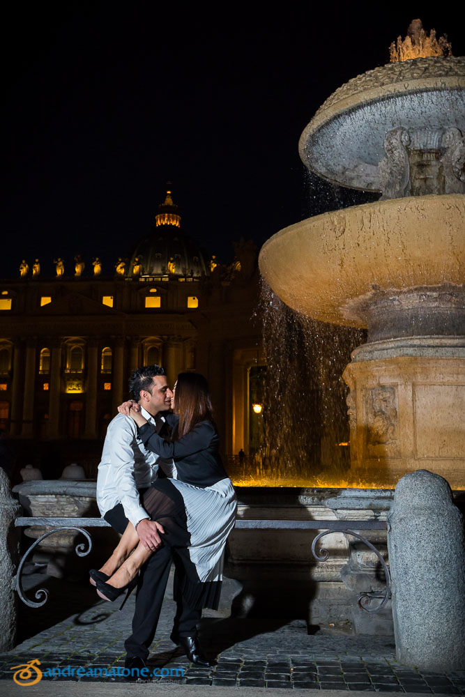Underneath the water fountains in Saint Peter's square in the Vatican.