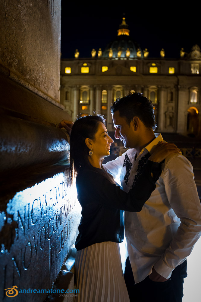 Beautiful couple pictures at nighttime at the Vatican.