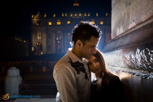 Nighttime engagement photo session in Rome at the Vatican during a Pre Wedding shoot