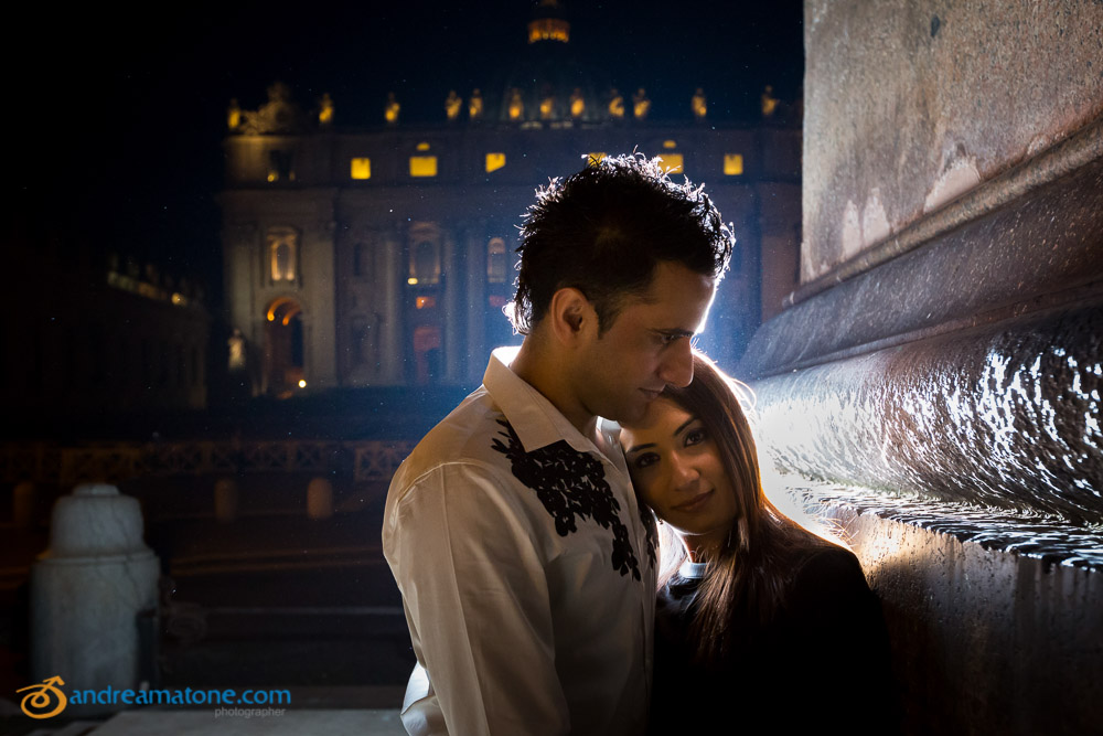 Nighttime photo session in Rome at the Vatican during a Pre Wedding shoot