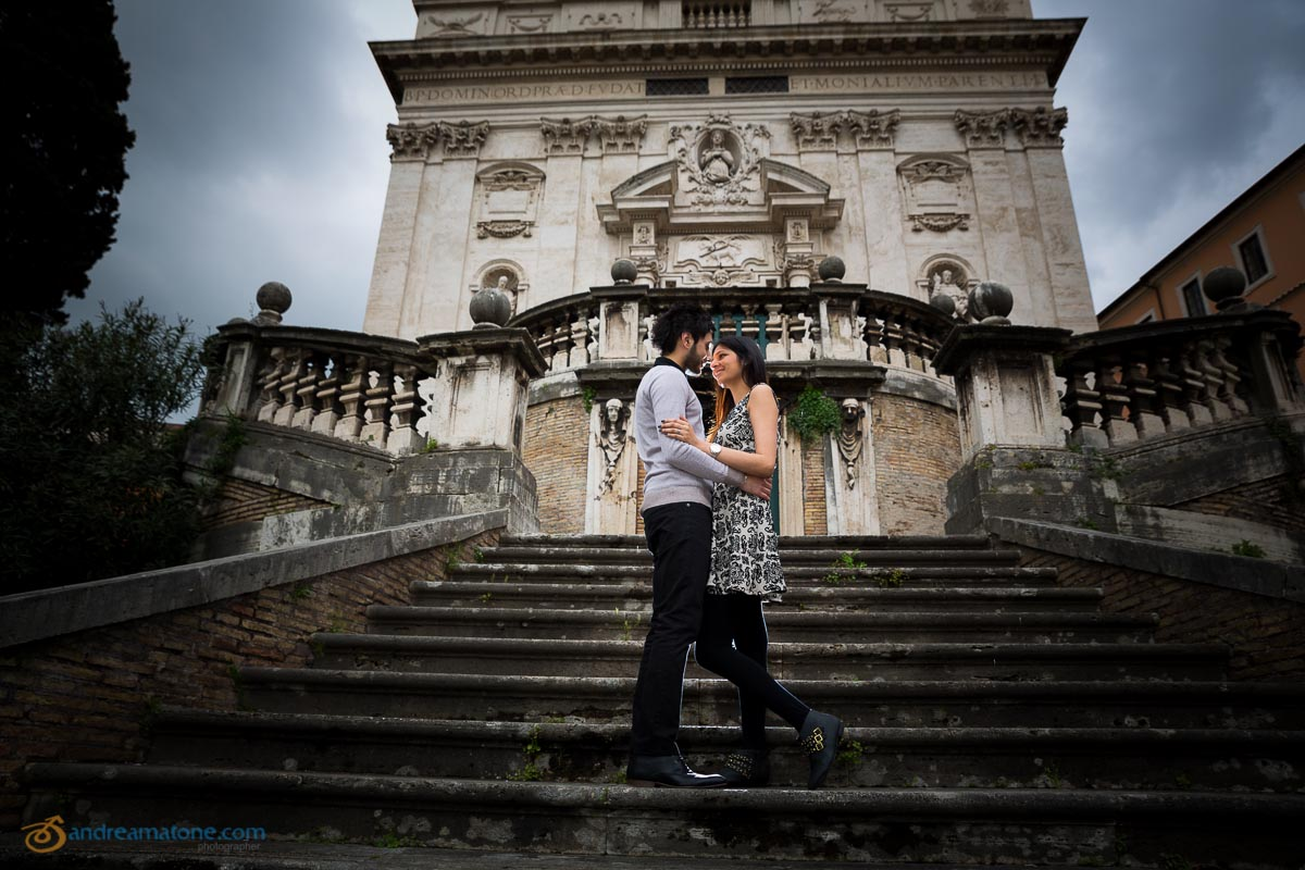 Engagement photo session. Anniversary photography in Church San Domenico and Sisto in Rome.
