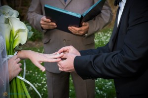 The exchange of the wedding ring during the ceremony in Italy