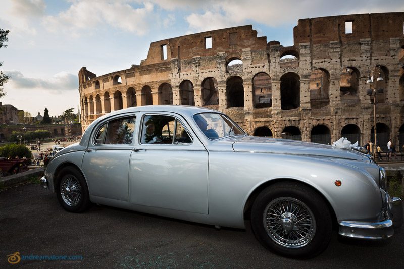 Jaguar MKII vintage car photographed during a roman wedding.