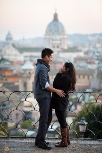 The surprise proposal in front of the Roman rooftops.