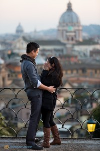 Terrace view of the city of Rome taken during a surprise proposal photo session.