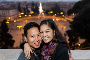 Couple engagement photos from Piazza del Popolo in Rome Italy. Italian photographers.