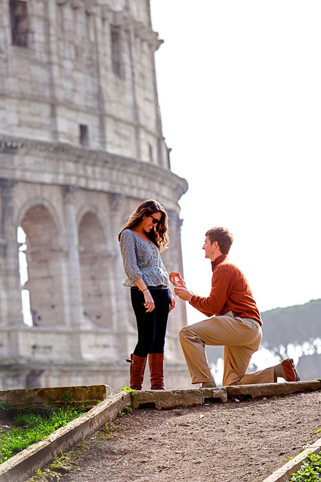 Surprise wedding proposal in Rome Italy at the Roman Colosseum