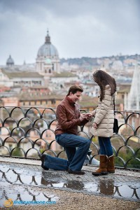 Surprise wedding proposal candidly photographed from the terrace of Parco del Pincio in Rome Italy