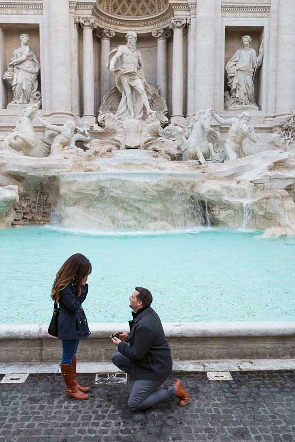 early morning Trevi fountain proposal